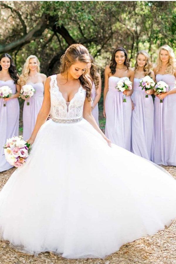A Line Floor Length Deep V Neck Sleeveless Cheap Wedding Gown Beach Wedding Dress W151