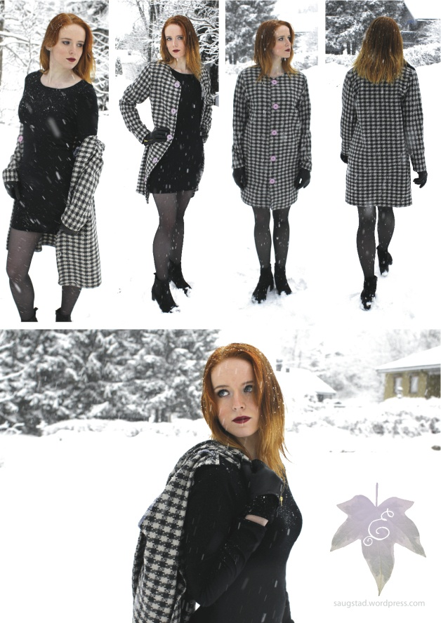 Dogtooth jacket & black dress