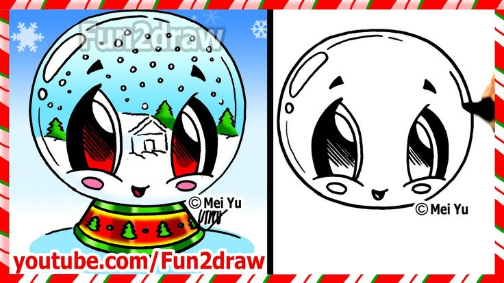 How to Draw Christmas Pictures - Snow Globe - Fun2draw winter scene