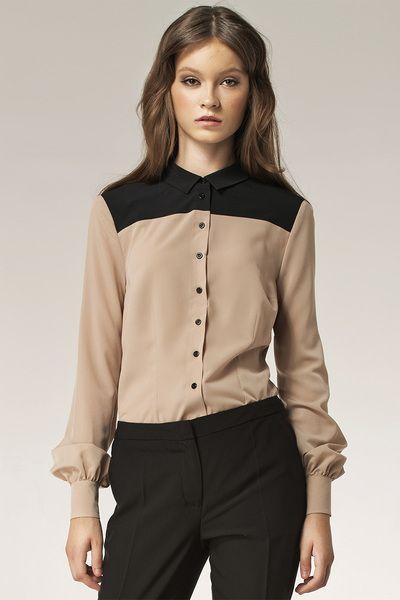 Dwukolorowa+koszula+b29+-+beż+w+NIFE+Fashion+na+DaWanda.com