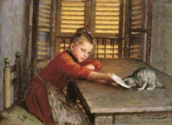 """Emilio Longoni (1859-1932) """"Ragazzina con gatto"""" 1892"""