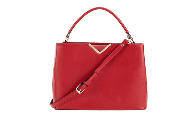 "Red Handbag. ""The boxy structure and vibrant pop of red lend a ladylike appeal to this beautiful bag."""