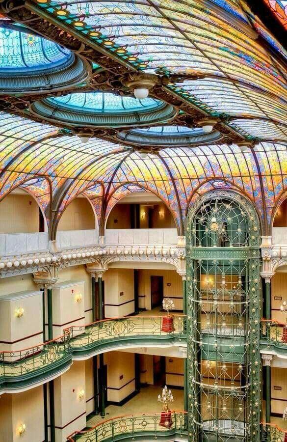 Lobby, Elevator & Skylight in The Gran Hotel Ciudad de Mexico. Art Nouveau.