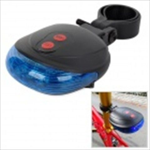 SL-116 Shell Shaped 7-Mode 5-LED Red / Blue Light Bike Laser Tail Lamp - Blue + Black (2 x AAA)