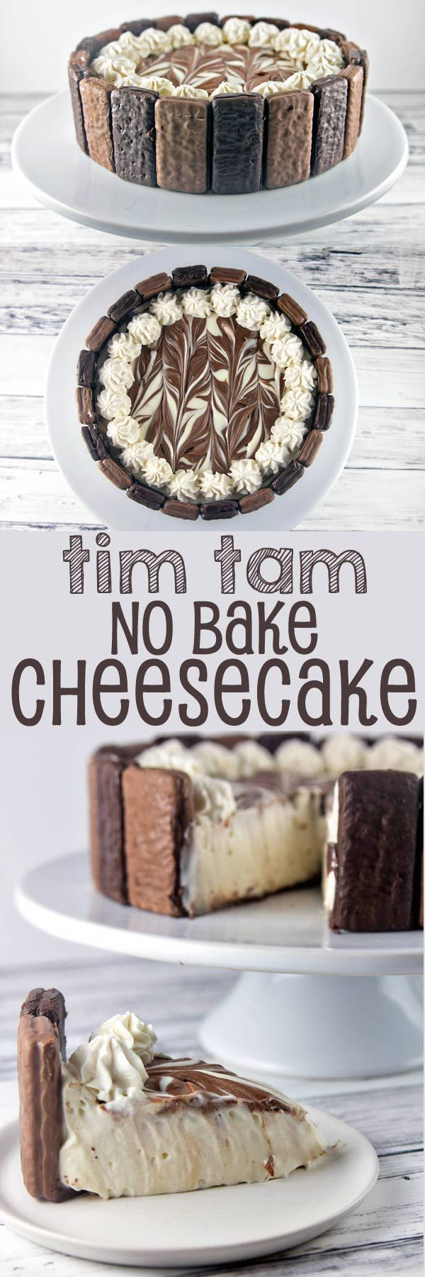 Tim Tam No Bake Cheesecake: the perfect quick and easy holiday entertaining dessert. Crunchy Tim Tams paired with a light, smooth no bake cheesecake filling, and a pure chocolate crust. Heavenly! {Bunsen Burner Bakery}