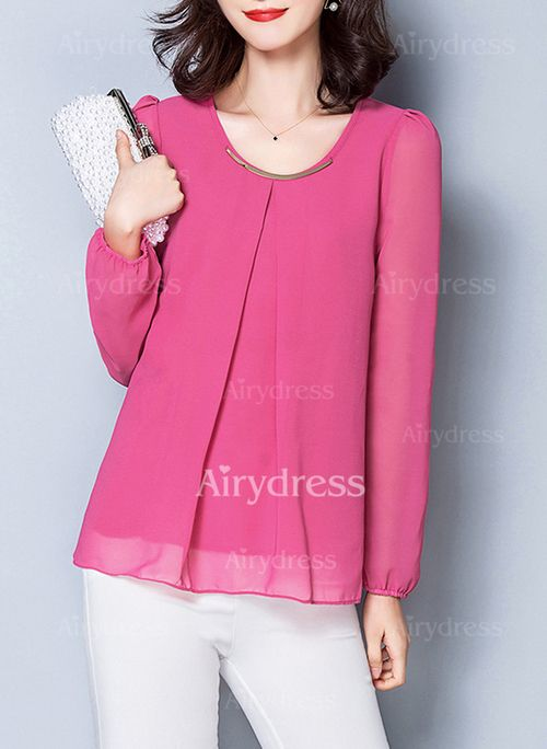 T-shirts - $15.44 - Chiffon Solid Round Neck Long Sleeve Elegant T-shirts & Vests (1685129263)