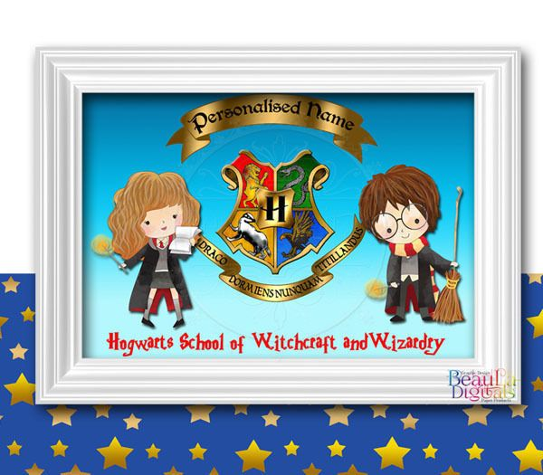 Harry Potter Print Hogwarts University Logo - Personalized Harry/Hermoine