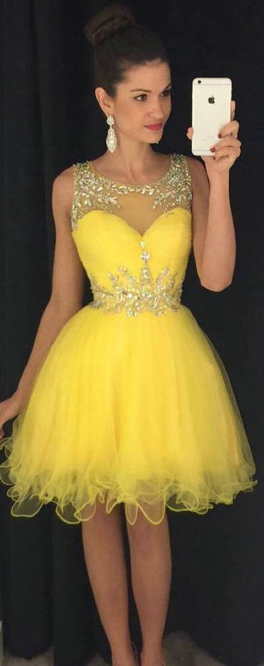 Bateau Neck Yellow Short Prom Dress, Sweet Illusion