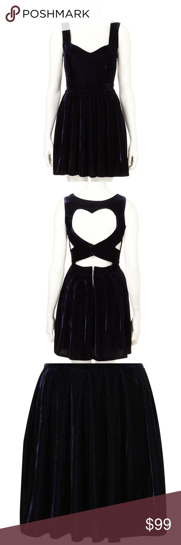 Dress Up TOPSHOP Navy Blue Velvet Heart Back Dress Used in Excellent Condition/ No Trades/ No Offline Transactions/ Smoke & Pet Free Home/ Please Ask Questions!/ Like what you see but the price too high? Make an offer!/ offers on bundles are welcome! Topshop Dresses Mini