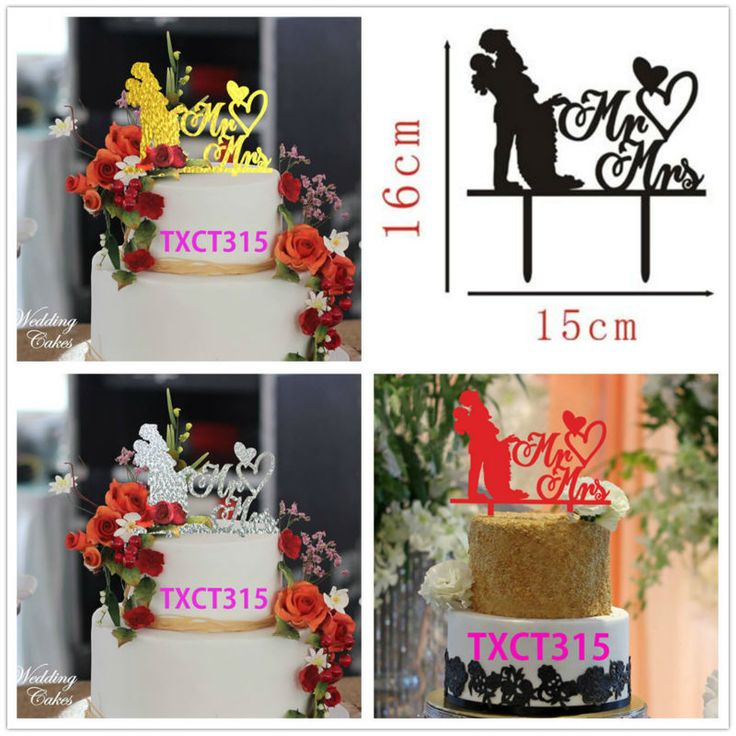 Free Shipping Black/Silver/Gold/Red Acrylic Bride Shower Decors Cake Topper Wedding Gifts Mr & Mrs Cake Topper Accessories