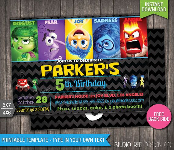 Best Inside Out Birthday Party Images On Pinterest Kids - Birthday invitations inside out