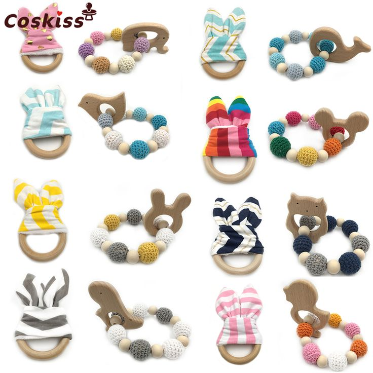 Wooden Animal Baby Teether Bangle Toy Teething Ring Bunny Ear Can Chew Teething Jewelry Wood Crochet Bead Teething Ring Bracelet