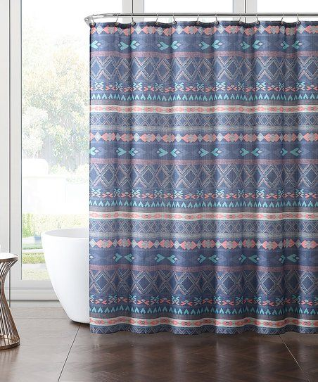 VCNY Home Blue Purple Piper Shower Curtain Set