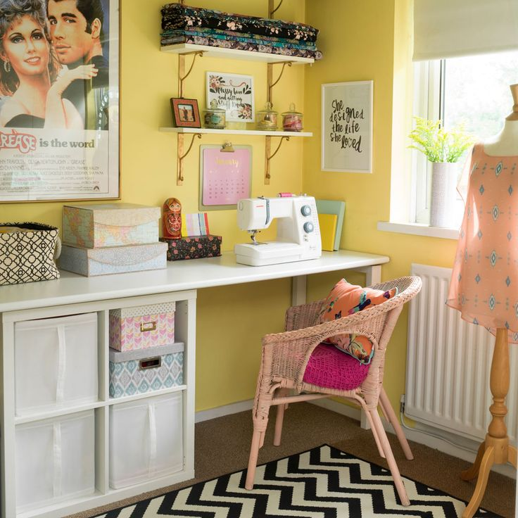 My bright and colourful sewing studio featured during our home tour on the Ideal Homes website @prettylittlepoppet