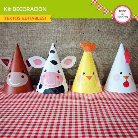 Granja niños: decoración de fiesta para imprimir