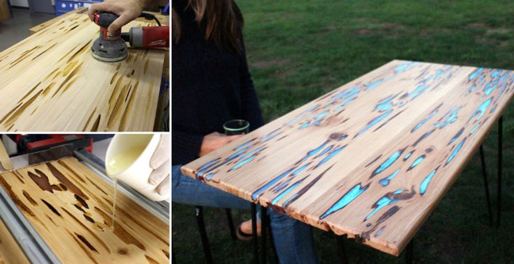 Use a 'pecky cypress' and the resin with a glow in the dark powder to make stunning furniture.