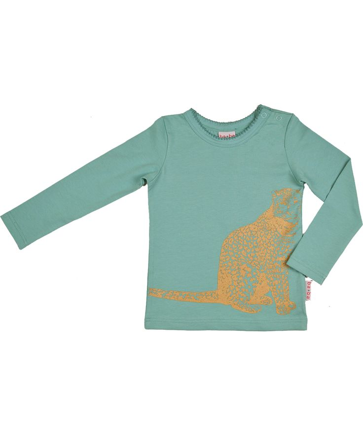 Super cool T-shirt bleu ciel avec guépard doré par Baba Babywear. baba-babywear.fr.emilea.be