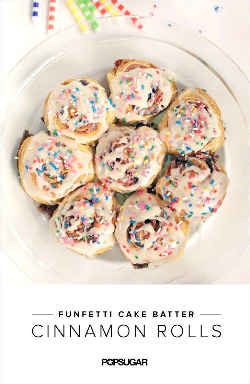 Funfetti plus cake batter plus cinnamon rolls is absolute heaven!
