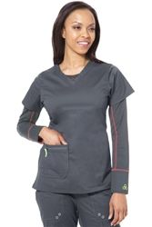 Stretch material moves and breaths with you in this group friendly top. Cute + Sporty scrub top at #Scrubs.com. #Antidote Uniforms 112 - 3-Pocket Reflex Top in Pewter