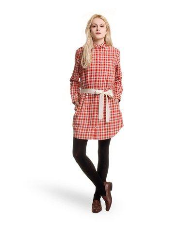 Robe chemise femme en coton gratté à carreaux rouge Pompier / lot Multico - Petit Bateau