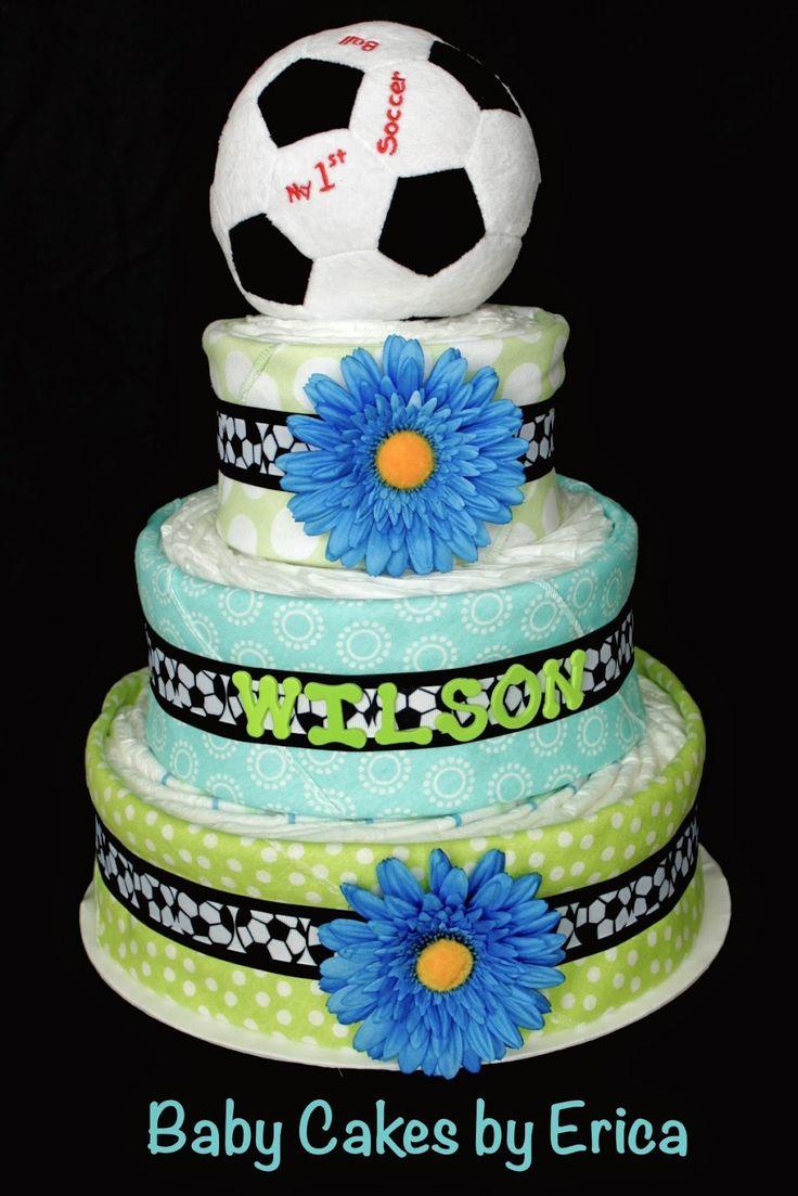 Wilson Soccer Ball Diaper Cake - Baby Cakes by Erica