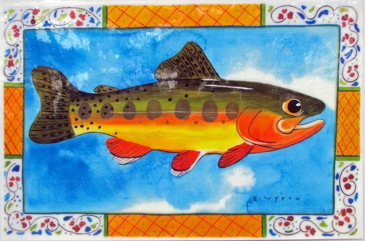 Ellie Wyeth, Place Mat -Fish w Yellow Border