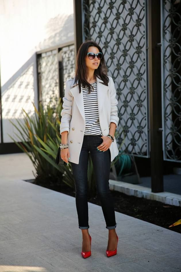 Your Daily Style Inspiration I'm a serious fan of stripes and I love the simplicity of this outfit. This look can be worn all year round. This is a perfect outfit for pear shaped women. Just make sure the jacket is either cropped at the waist or drops below the widest part of your hips… as in the photo. Pop a color with some red pumps! Or choose a fun color that you love. Click to get this look.