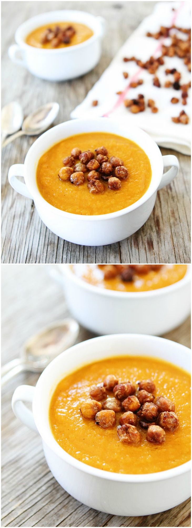 Slow Cooker Butternut Squash Soup Recipe on twopeasandtheirpod.com The BEST butternut squash soup and it is made in the crockpot! It is our favorite fall soup!