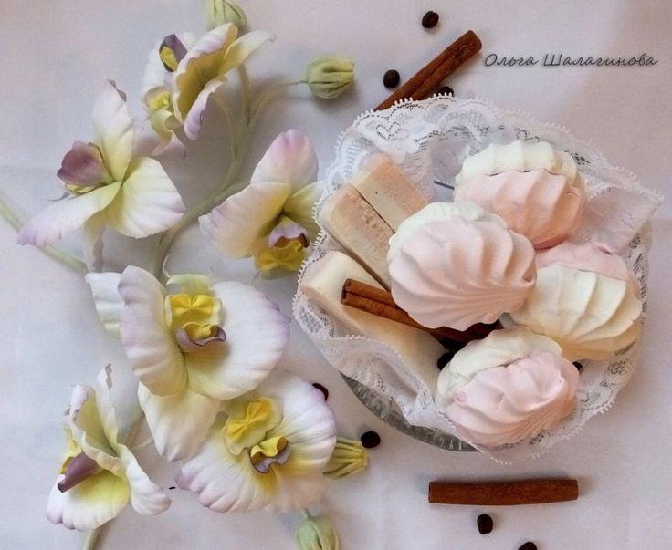 Орхидеи из японского бархата. Ручная работа