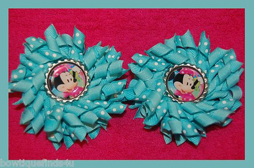 Set of (2) MINNIE Korker Hair Bows with Bottle Caps .. Alligator Clips