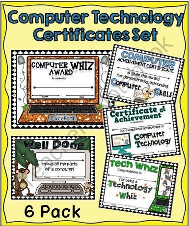 Computer/Technology Certificates Set from A Teacher in Paradise on TeachersNotebook.com - (6 pages) - Award your computer savvy students with these colorful certificates.