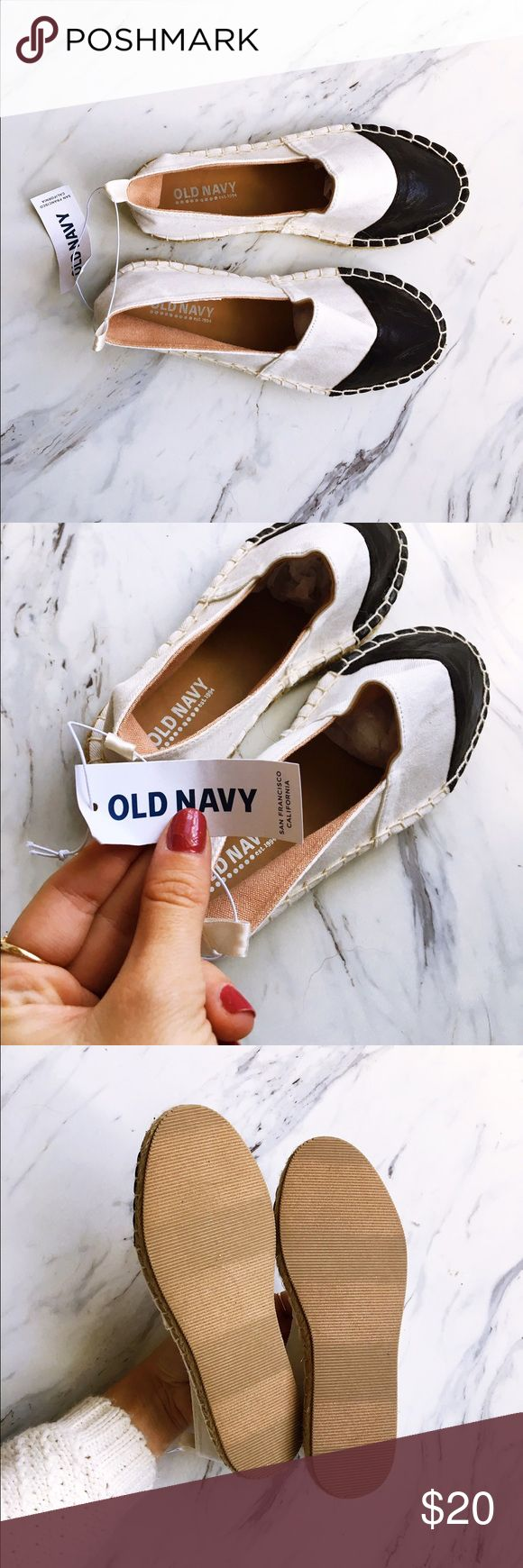 Kids Old Navy Black and White Espadrilles Perfect condition, never worn, NWT + interior tissue stuffing. Perfect for slippin on your kiddo for Fall! Price isn't firm, make an offer! Old Navy Shoes Slippers