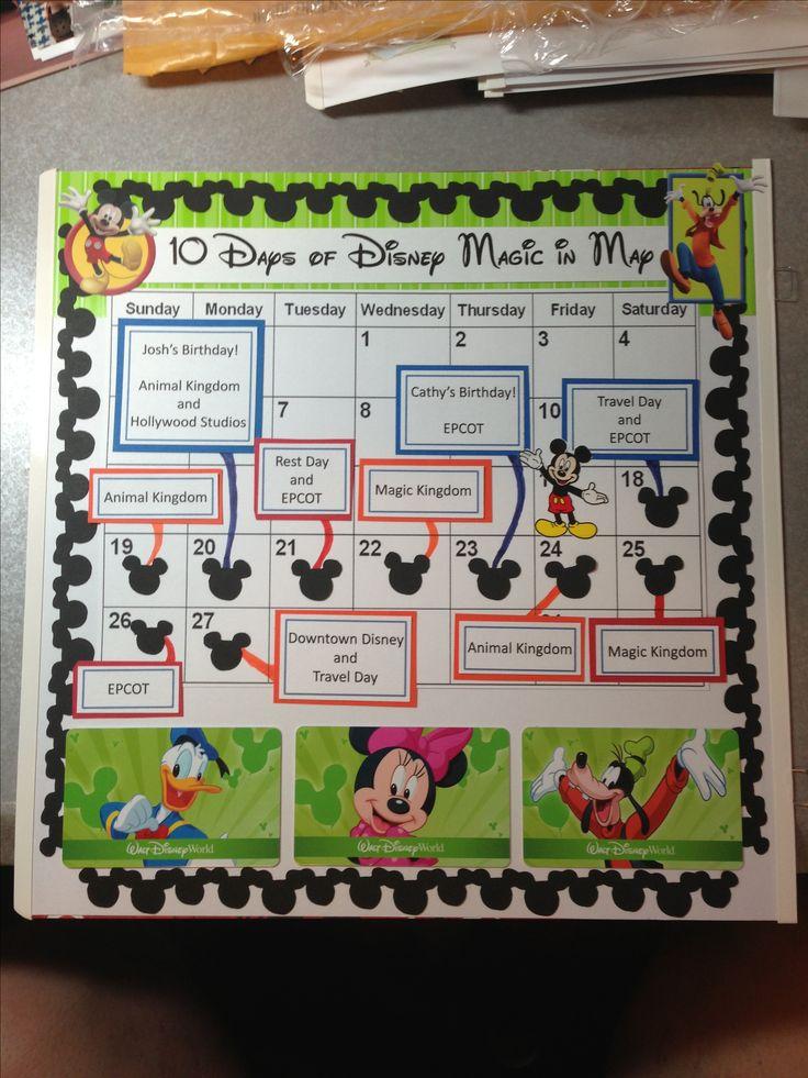 Disney World calendar itinerary.