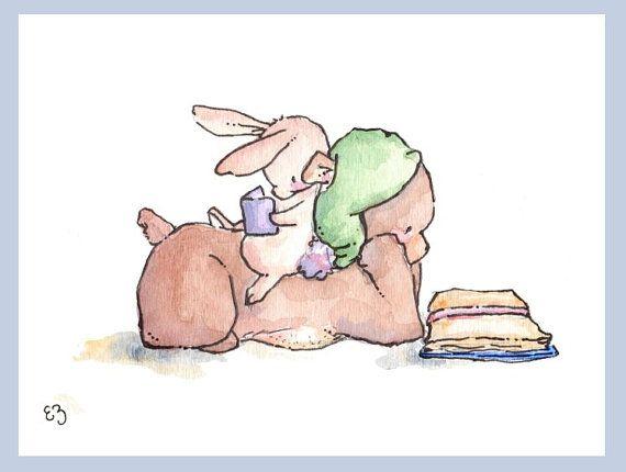 Kinder-Kunstdruck. Bär und Hase lesen. DRUCKEN SIE von LoxlyHollow