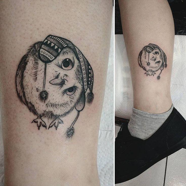 Curious little owl tattoo