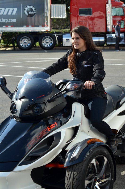 Our First Time on a Can-Am Spyder Motorcycle with Danica Patrick http://blog.iseecars.com/2014/01/24/our-first-time-on-a-can-am-spyder-motorcycle-with-danica-patrick/