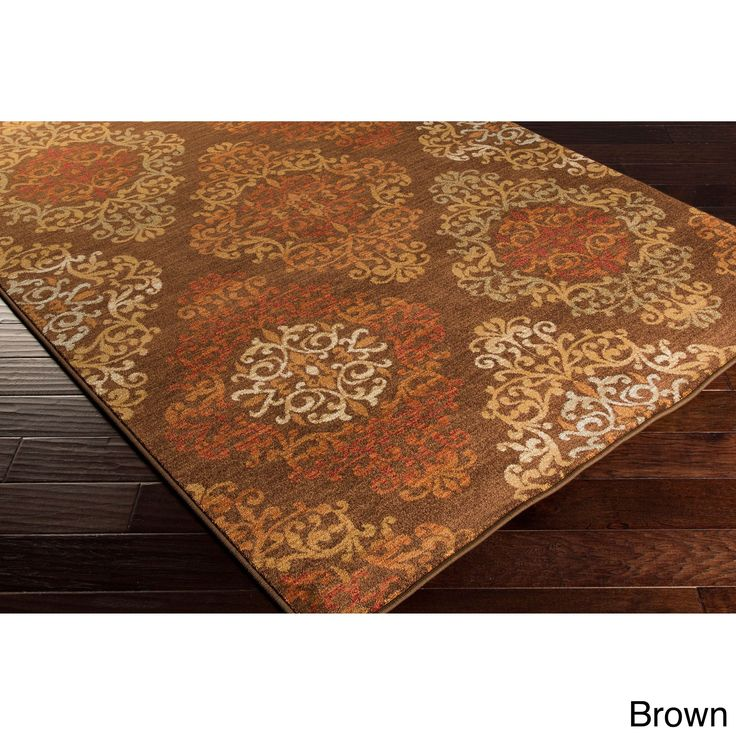 "Artfully Crafted Arlesey Damask Rug (7'10 x 9'10) (Brown-(7'10"" x 9'10"")), Brown, Size 8' x 10' (Plastic, Floral)"