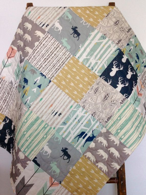 Baby Quilt, Gender Neutral Baby Quilt, Woodland Blanket, Baby Bedding, Moose Quilt, Bear Blanket, Navy Gray Nursery, Woodland Crib Bedding