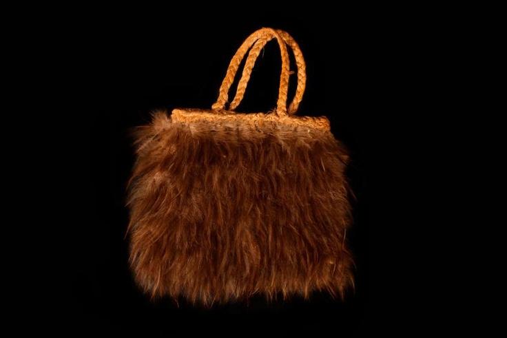 Kete Muka kiwi - flax and kiwi feather bag, finely made kiwi
