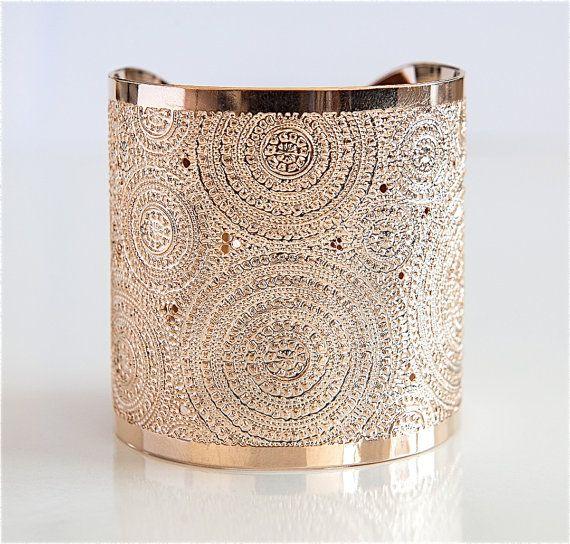 Rose Gold cuff bracelet mandalamodern jewelry Rose by KelkaJewelry