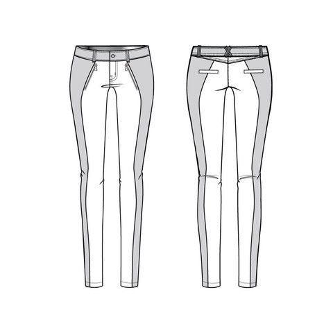 Women's Color Block Moto Skinny Pant Fashion Flat Template