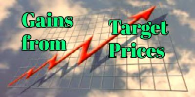< Gains from Stock Analysts Target Prices > Every day stock investors get bombarded with a lot of information on which are the stocks holding the most potential for profits, which sector of the stock market.....
