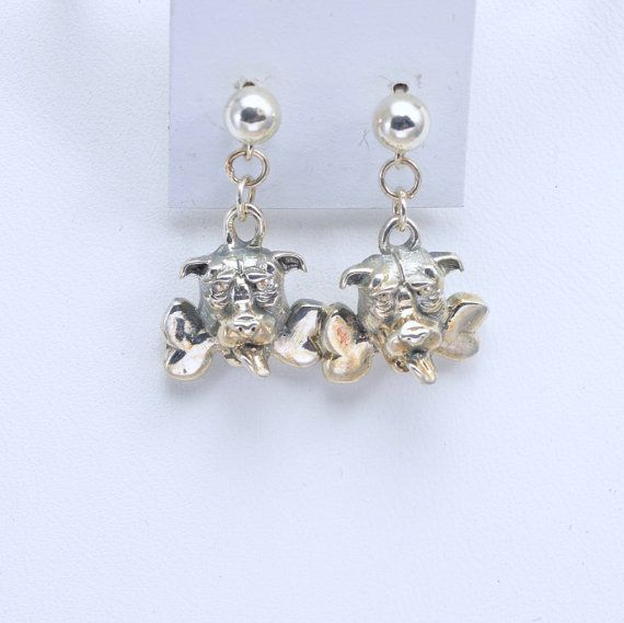 Sterling Silver Pitt Bull Dog Earrings by Donna Pizarro from her Animal Whimsey Collection of Fine Dog Jewelry & Pitt Bull Jewelry