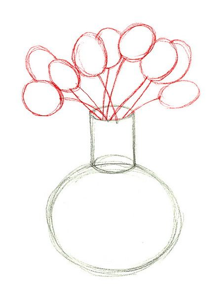 How to draw flowers in a vase for How to draw a cute flower