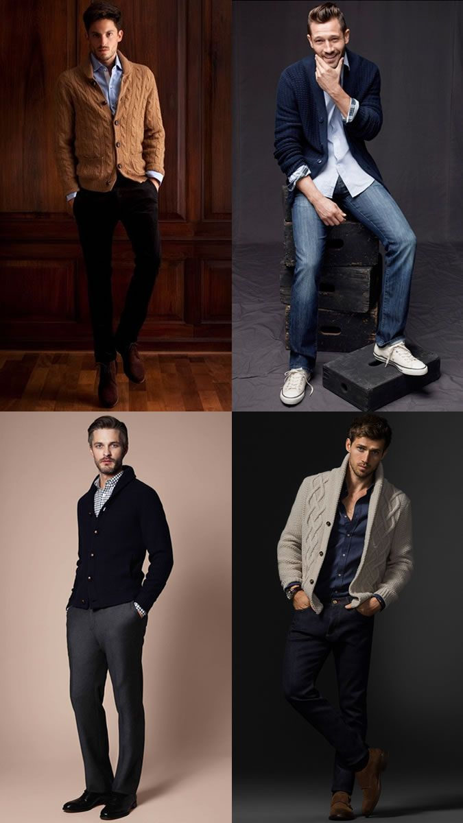 Men's Shawl Collar Cardigans With Shirts Outfit Inspiration Lookbook