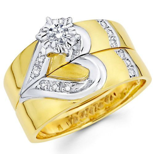 Fancy Cheap Wedding Rings Sets Yellow Gold