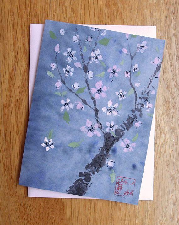 Plum Blossom Greeting Card Original Chinese Brush Sumi-e