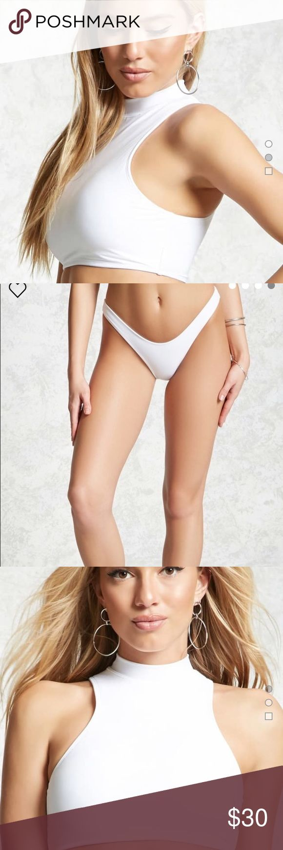 Forever 21 - High Neck Bikini Set (White) !New! Forever 21 White High Neck Bikini Set  Never been worn I can sell the top or bottom individually if you don't want both. Forever 21 Swim Bikinis