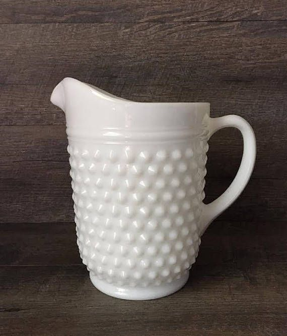 Vintage Hobnail Milk Glass Pitcher. Vintage Milk Glass