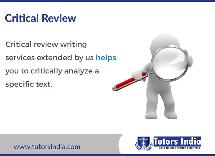 The critical reviews created by Tutors India present an objective evaluation where we highlight both positive as well as negative aspects of the text in question while offering an opinion from a professional perspective rather than personal. We refer wide range of resources to offer our comments and suggestions.http://www.tutorsindia.com/our-services/coursework-writing/critical-reviews/ sample work: http://www.tutorsindia.com/library/literature-review/